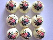 9 PLASTIC LIMOGE DOME CABOCHONS LOT VTG 22mm FLORAL ROSES JEWELRY FINDINGS CRAFT