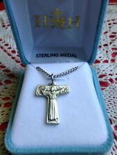 "NEW SOLID STERLING SILVER ST. FRANCIS TAU CROSS, 18"" Chain Velvet Case #S158518"