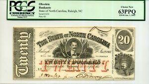 State of North Carolina $20 63PPQ Jan. 1, 1863 PCGS 80201919 SN 1650 Plate #D
