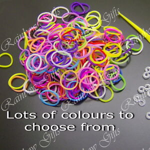 LOOM BANDS INCLUDE TOOL & S CLIPS REPLACEMENT RUBBER COLOURFUL BANDS