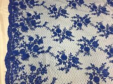 Sensational Royal Blue Flowers Embroider And Corded On a Polkadot Mesh Lace-yd
