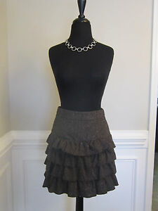 ANN TAYLOR LOFT NWT Tweed Wool Blend Ruffle Tiered Skirt Size 0 GORGEOUS!