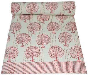 Vintage Kantha Bedspread Indian Handmade Quilt Throw Cotton Queen Floral Print