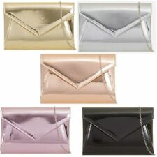 Woman's Enveloped Gloss/Metallic Prom/Party/Wedding/Evening Clutch Bag new look
