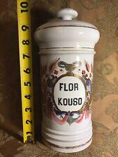 """Antique 1800's Apothecary French PARIS Hand Painted Porcelain Jar """"FLOR KOUSO"""""""