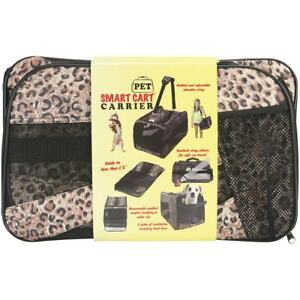 Pet Smart Cart,Small, Leopard Rolling Carrier on Wheels Soft Sided Up to 12 lbs