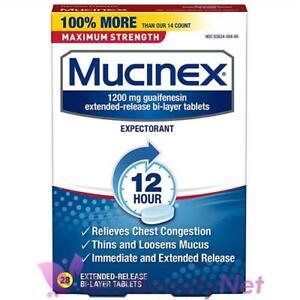 Mucinex Maximum Strength 12 Hour Chest Congestion Expectorant 28 Bi-Layer Tablet