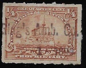 RING'S AMBROSIA CO. HANDSTAMP CANCEL 1/4c RB21 1898 Battleship Revenue Stamp