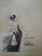 1957 LASSO Jean Patou Paris French Perfume Bottle Signed Art Original  Ad