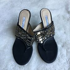 "Oscar de la Renta Women's Beaded Sandals Size 37 Black Canvas 4"" Heels Slide"