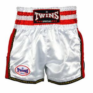Twins TWS-927 Plain Retro Muay Thai Shorts White Red Kickboxing Striking K1