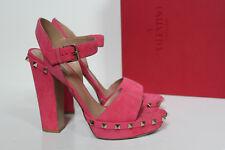 New sz 9.5 / 40 Valentino Rockstud Pink Suede Platform Ankle Sandal Block Shoes