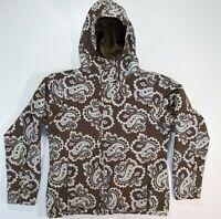 Burton Womens Large Snowboard Ski Hooded Jacket Coat Brown Mint Paisley Print