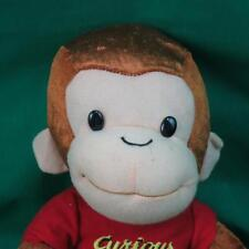 BIG BROWN MONKEY CURIOUS GEORGE EMBROIDERED RED T-SHIRT PLUSH STUFFED ANIMAL TOY