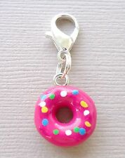 1pc Pink Doughnut Dangle Clip On Charm with Lobster Clasp for Link Chain C89