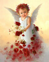 Art Oil painting stunning little angel girl with red flowers canvas