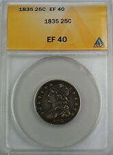 1835 Capped Bust Silver Quarter Dollar, ANACS EF-40, Better Coin
