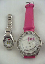 Lot 2 Sanrio Hello Kitty watches silver metal band & pink faux leather strap RS