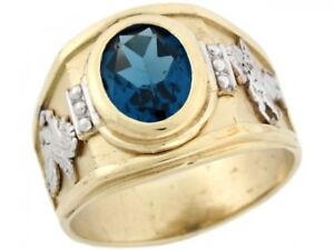10k or 14k Two Toned Gold Simulated Blue Zircon Birthstone Pegasus Mens Ring