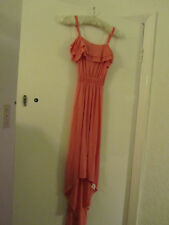 Miss Selfridge Long Pink Sleeveless Frilly Dress in Size 8