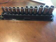 Snap On Tools 6Pt Socket Set 3/8 Flank Drive Deep Metric 8-19mm    Magnetic Tray
