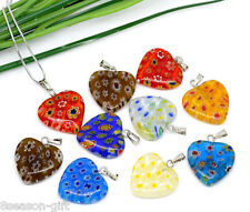 100Mixed Millefiori Glass Lampwork Heart Charm Pendants