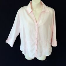 100% PURE LINEN BLOUSE / SHIRT / TOP ROSE PINK EMBROIDERED TARGET s 12 / 14
