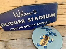 """Rustic Style 12"""" Dodger Dogs and Dodger Stadium Vin Scully 24"""" Wooden Sign Combo"""