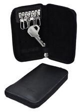 Black Key Chain Wallet Purse 6 Key Hooks Holder zip Leather slim velvet interior