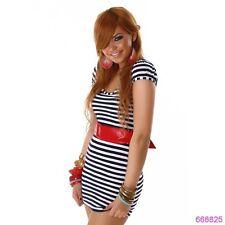 Minivestido sexy con vestido de noche cinturón rojo en el Navy-Look talla s 34 azul blanco sexy