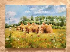 "Landscape ""Harvest time"" BEAUTIFUL OIL PAINTING! Signed, Kiev, Ukraine."