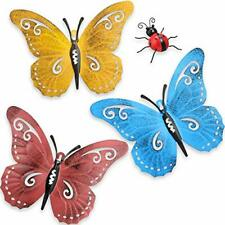 New listing 4 Pieces Metal Butterfly Wall Art Metal Garden Ladybugs Decor for Indoor/Outdoor