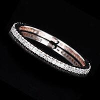 Diamond Full Eternity Pave Wedding Band Ring 14k Rose Gold -IGI-