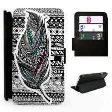 Aztec Feather Pattern - Flip Phone Case Cover - Fits Iphone / Samsung