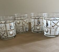 4 Culver USA 22K Gold Golf Designs White Frosted Double Old Fashioned Glasses