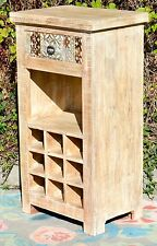 Carved Recycled Timber Country Wine Cabinet Serving Mini Bar Chic Vintage Rustic