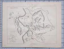1868 Print Rome Map Roms Antiqua Ancient Colosseum mausolée Panthéon