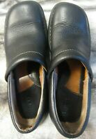 Born Womens Black Leather Slip-on Clog Wedge Heel Loafer Shoes Size 7.5