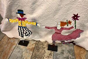 "Set Of 2 Judie Bomberger ""Cirque Du Soleil"" 1998 Signed Metal Art Sculptures"