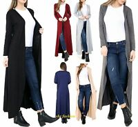 New Womens Ladies Longline Open Boyfriend Long Sleeve Maxi Cardigan Size UK 8-26
