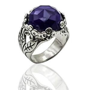 Shablool Sterling Silver 925 Ring Purple Amethyst Gift Women Men Jewelry Unique