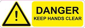 DANGER  KEEP HANDS CLEAR  Machinery health and safety sticker  300x100mm