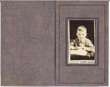 Vintage Adorable Shy Looking Young Boy Student At Desk Book 1925 School Photo