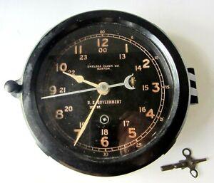 "1950- 1954 - Chelsea US Navy Ships Deck Clock W/ Key- ""WORKS"""