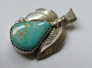 Indianerschmuck Anhänger Türkis Cabochon 925 Silber Vintage 70 er pendant silver