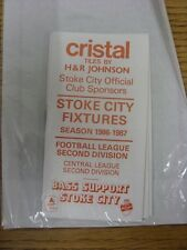 1986/1987 Fixture List: Stoke City - Official 12 Page Small Booklet Style . Than