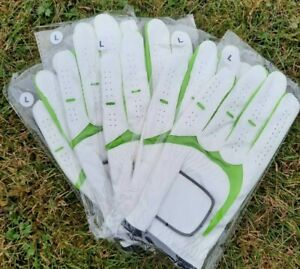 5 Men's All Weather Golf Gloves Green and White LH Only FREE 1st Class Post