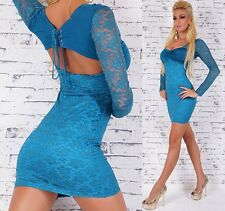 Miss Sexy Donna Pizzo Mini Abito Party BUSTINO Stretch Girly DRESS XS/S Turchese