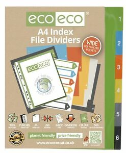 1 Set x 6pk eco-eco A4 50% Recycled Wide Index File Folder Plastic Dividers