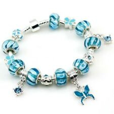 Silver Blue Glass and Enamel Bead and Butterfly Charm BRACELET #CH02